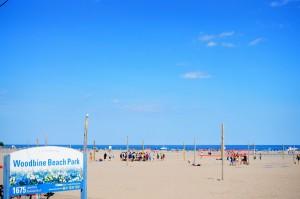ウッドバインビーチの入り口にある看板